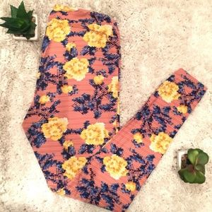 NEW LuLaRoe TC Dusty Rose Pink Floral Leggings